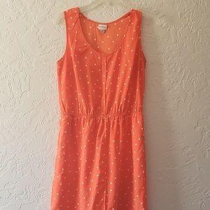 Merona Orange White Polka Dot Dress